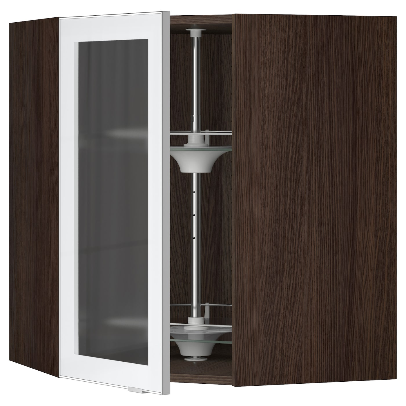 Sektion Corner Wall Cab Carousel Glass Door Brown Jutis Frosted Glass