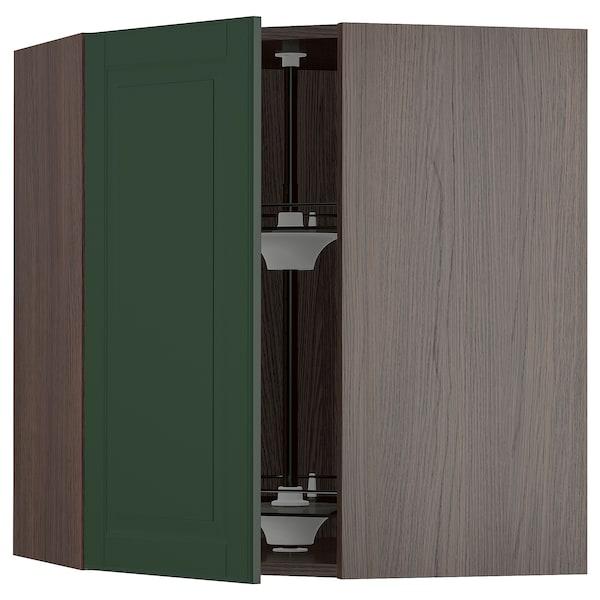 "SEKTION Corner wall cabinet with carousel, brown/Bodbyn dark green, 26x15x30 """