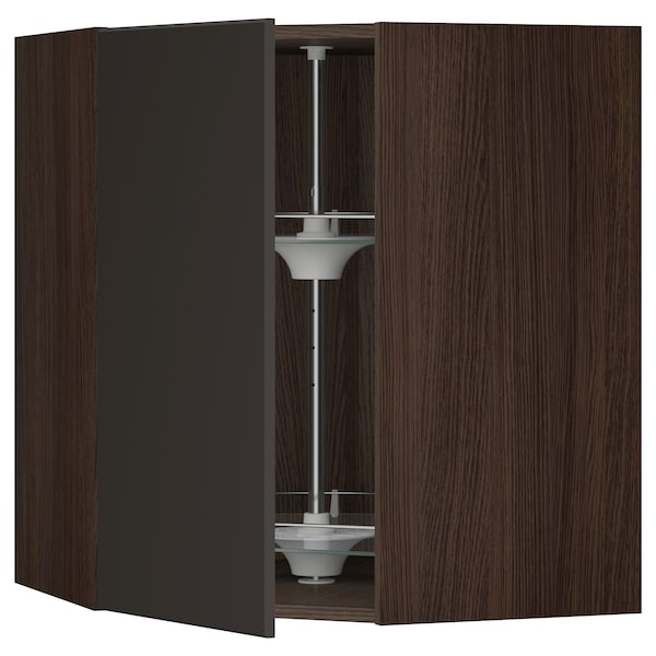 """SEKTION Corner wall cabinet with carousel, brown/Kungsbacka anthracite, 26x15x30 """""""