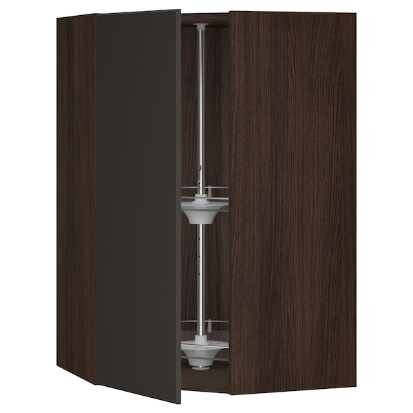 """SEKTION Corner wall cabinet with carousel, brown/Kungsbacka anthracite, 26x15x40 """""""