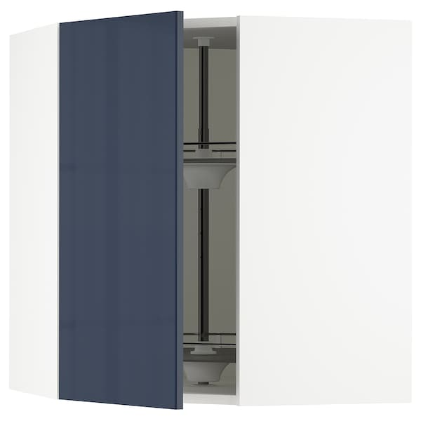 "SEKTION Corner wall cabinet with carousel, white/Järsta black-blue, 26x15x30 """