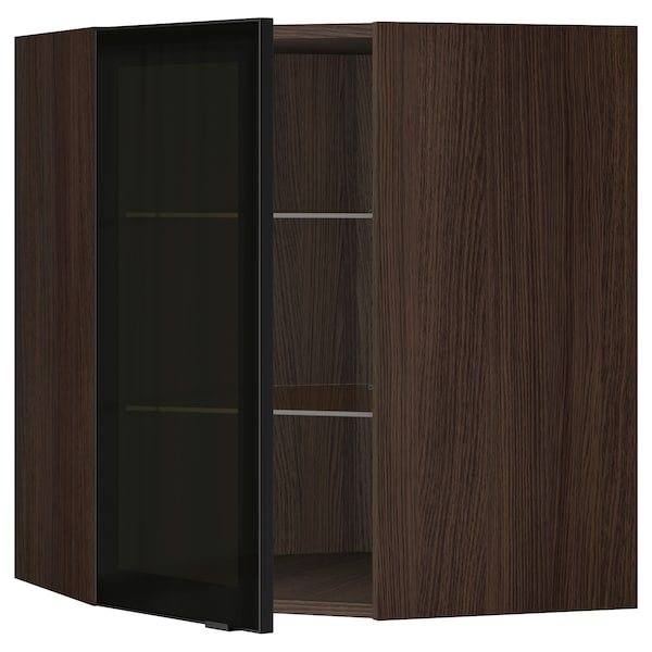 SEKTION Corner wall cabinet with glass door, brown/Jutis smoked glass, 26x15x30 ""