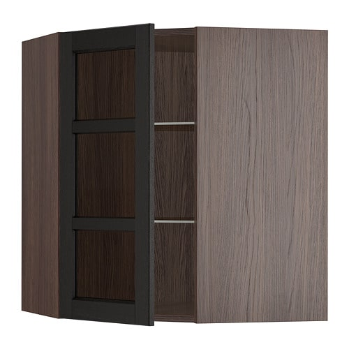 Sektion Corner Wall Cabinet With Glass Door Wood Effect Brown
