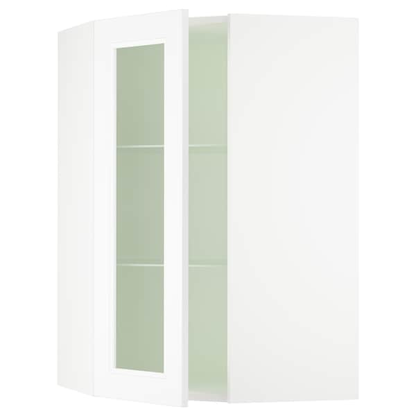 SEKTION Corner wall cabinet with glass door, white/Axstad matt white, 26x15x40 ""