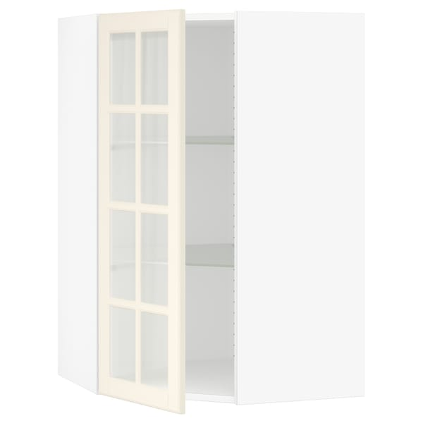 """SEKTION Corner wall cabinet with glass door, white/Bodbyn off-white, 26x15x40 """""""