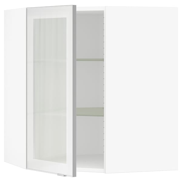 """SEKTION Corner wall cabinet with glass door, white/Jutis frosted glass, 26x15x30 """""""