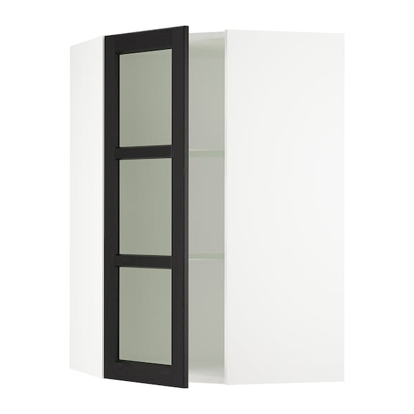 SEKTION Corner wall cabinet with glass door, white/Lerhyttan black stained, 26x15x40 ""