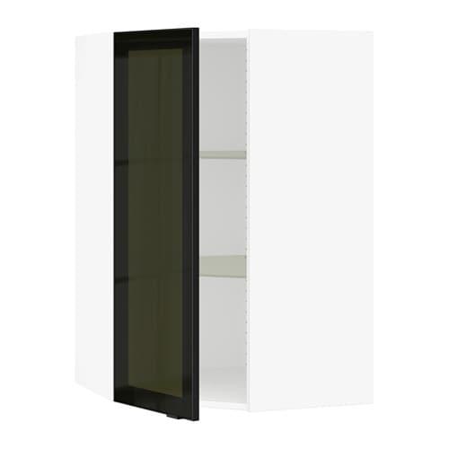 Sektion Corner Wall Cabinet With Glass Door White Jutis Smoked