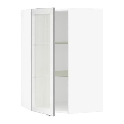Sektion corner wall cabinet with glass door white jutis for Ikea glass door wall cabinet