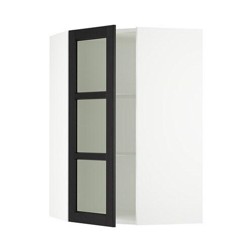 Sektion Corner Wall Cabinet With Glass Door White Lerh Black