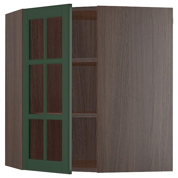 "SEKTION Corner wall cabinet with shelves, brown/Bodbyn dark green, 26x15x30 """