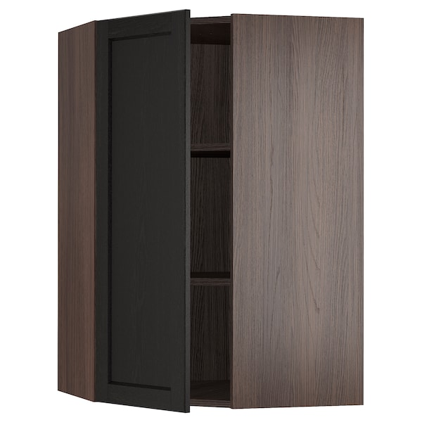 SEKTION Corner wall cabinet with shelves, brown/Lerhyttan black stained, 26x15x40 ""