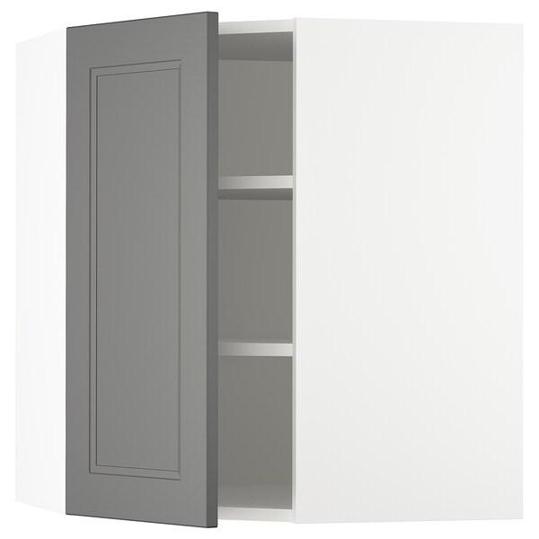 "SEKTION Corner wall cabinet with shelves, white/Axstad dark gray, 26x15x30 """