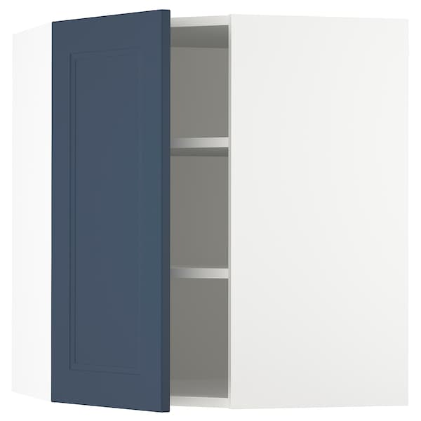 SEKTION Corner wall cabinet with shelves, white Axstad/matte blue, 26x15x30 ""
