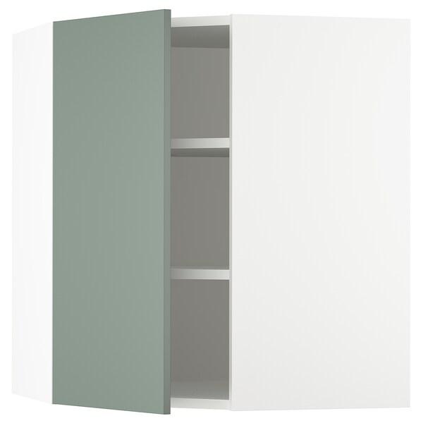 "SEKTION Corner wall cabinet with shelves, white/Bodarp gray-green, 26x15x30 """