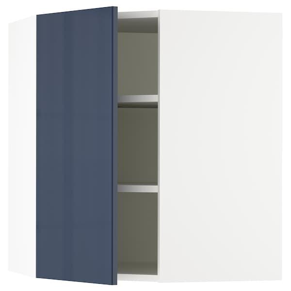"SEKTION Corner wall cabinet with shelves, white/Järsta black-blue, 26x15x30 """
