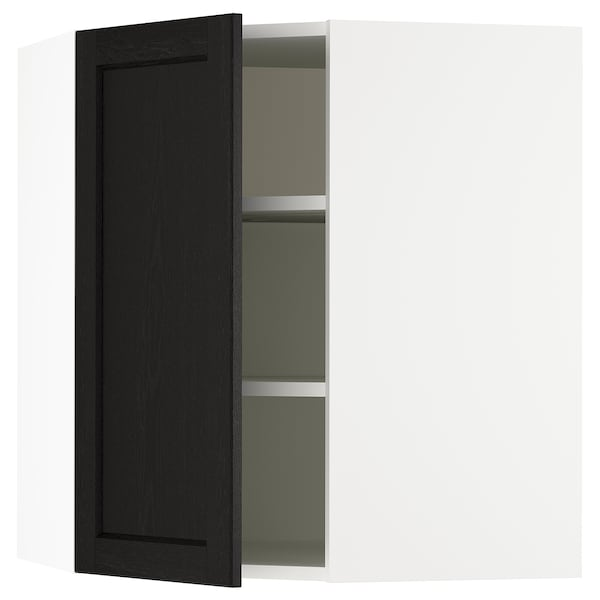 SEKTION Corner wall cabinet with shelves, white/Lerhyttan black stained, 26x15x30 ""