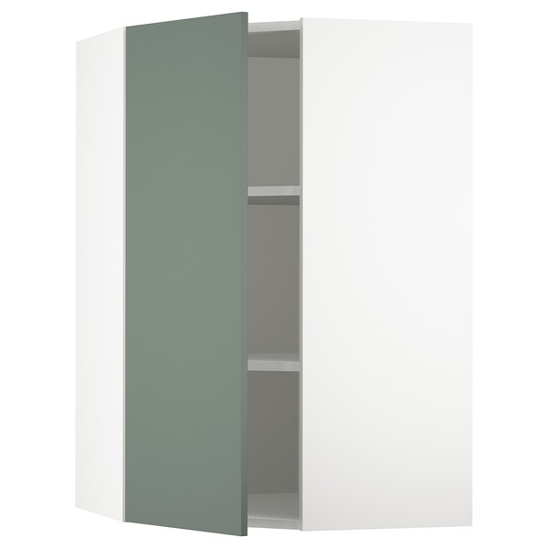 "SEKTION corner wall cabinet with shelves white/Bodarp gray-green 26 "" 15 1/2 "" 15 "" 40 """