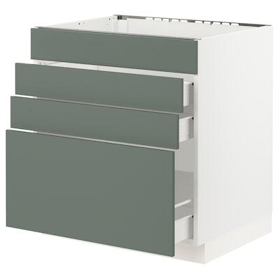 "SEKTION / FÖRVARA base cabinet f/cooktop w/3 drawers white/Bodarp gray-green 30 "" 24 "" 24 3/4 "" 30 """