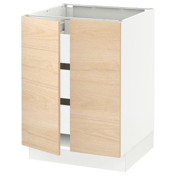 "SEKTION / FÖRVARA Base cabinet w 2 doors/3 drawers, white/Askersund light ash effect, 24x24x30 """