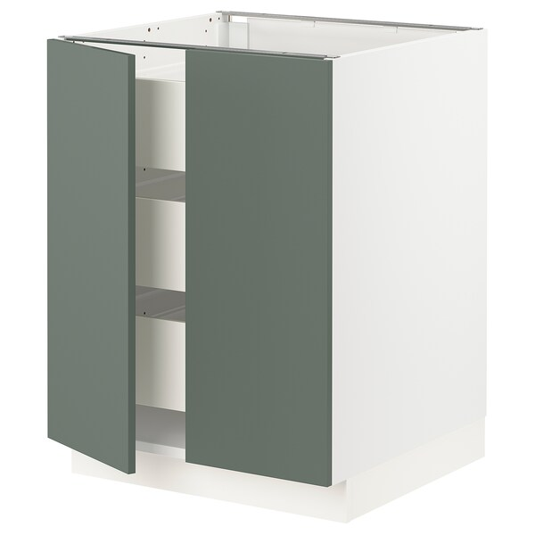 "SEKTION / FÖRVARA Base cabinet w 2 doors/3 drawers, white/Bodarp gray-green, 24x24x30 """