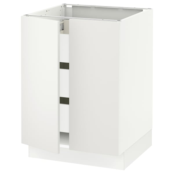 "SEKTION / FÖRVARA Base cabinet w 2 doors/3 drawers, white/Häggeby white, 24x24x30 """