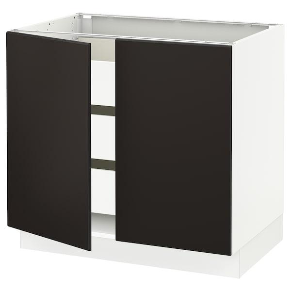 "SEKTION / FÖRVARA Base cabinet w 2 doors/3 drawers, white/Kungsbacka anthracite, 36x24x30 """