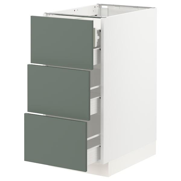 "SEKTION / FÖRVARA Base cabinet w/3 fronts & 4 drawers, white/Bodarp gray-green, 15x24x30 """