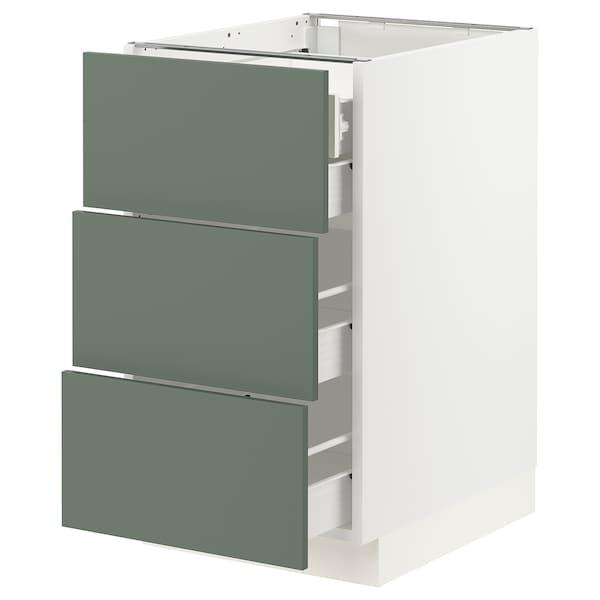 "SEKTION / FÖRVARA Base cabinet w/3 fronts & 4 drawers, white/Bodarp gray-green, 18x24x30 """