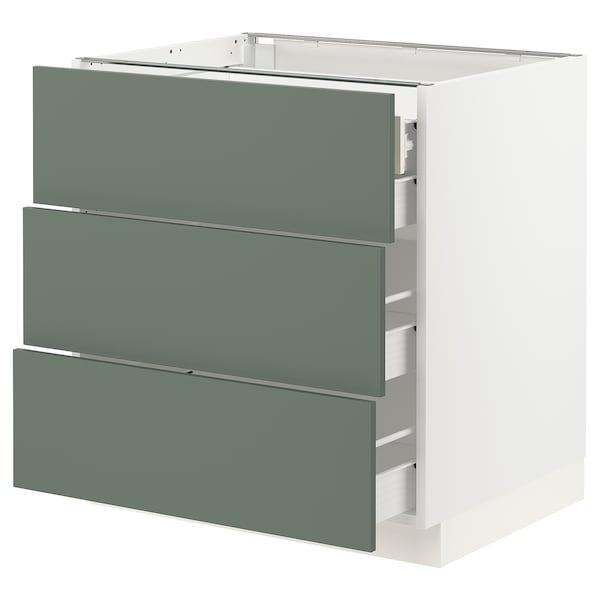 "SEKTION / FÖRVARA Base cabinet w/3 fronts & 4 drawers, white/Bodarp gray-green, 30x24x30 """