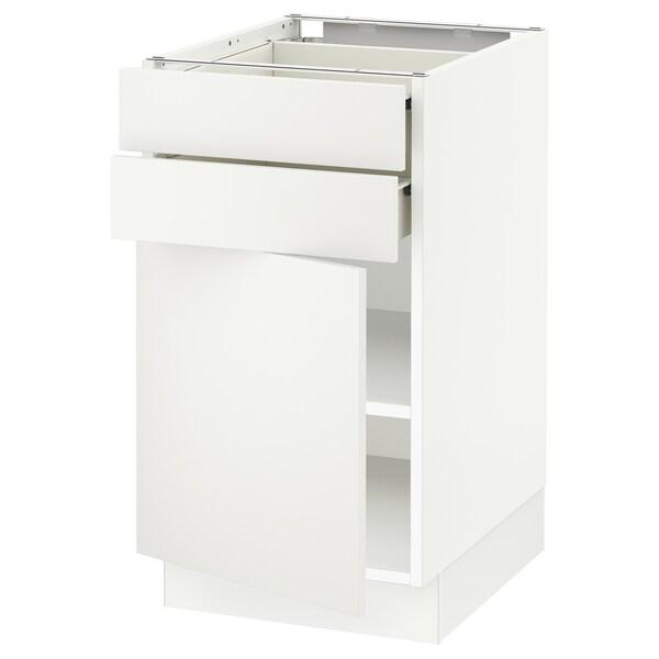 "SEKTION / FÖRVARA Base cabinet w door/2 drawers, white/Häggeby white, 18x24x30 """