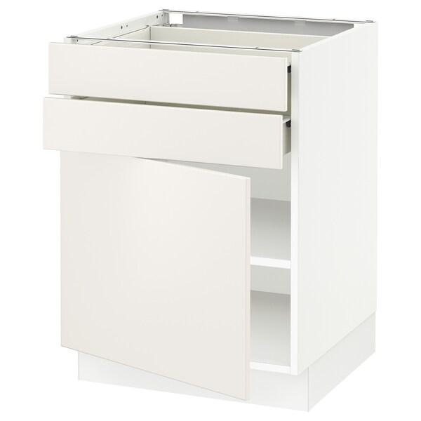 "SEKTION / FÖRVARA Base cabinet w door/2 drawers, white/Veddinge white, 24x24x30 """