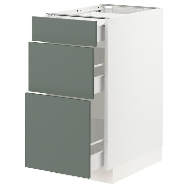"SEKTION / FÖRVARA Base cabinet with 3 drawers, white/Bodarp gray-green, 15x24x30 """