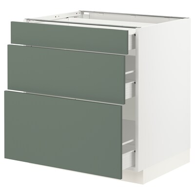 SEKTION / FÖRVARA Base cabinet with 3 drawers, white/Bodarp gray-green, 30x24x30 ""