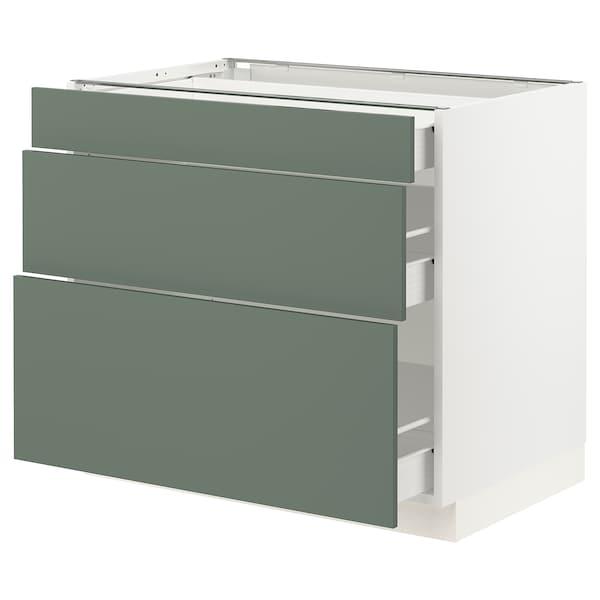 "SEKTION / FÖRVARA Base cabinet with 3 drawers, white/Bodarp gray-green, 36x24x30 """