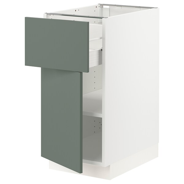 SEKTION / FÖRVARA Base cabinet with drawer/door, white/Bodarp gray-green, 15x24x30 ""