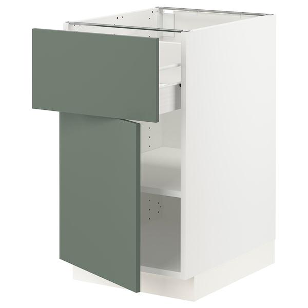 "SEKTION / FÖRVARA Base cabinet with drawer/door, white/Bodarp gray-green, 18x24x30 """