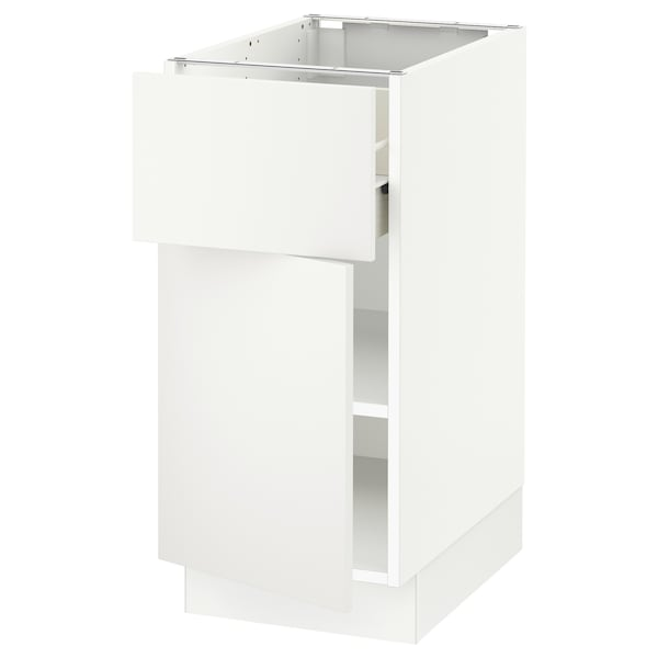 SEKTION / FÖRVARA Base cabinet with drawer/door, white/Häggeby white, 15x24x30 ""