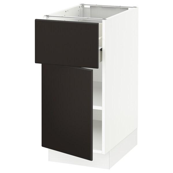 "SEKTION / FÖRVARA Base cabinet with drawer/door, white/Kungsbacka anthracite, 15x24x30 """
