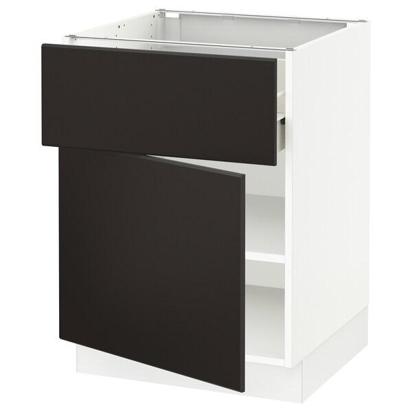 "SEKTION / FÖRVARA Base cabinet with drawer/door, white/Kungsbacka anthracite, 24x24x30 """