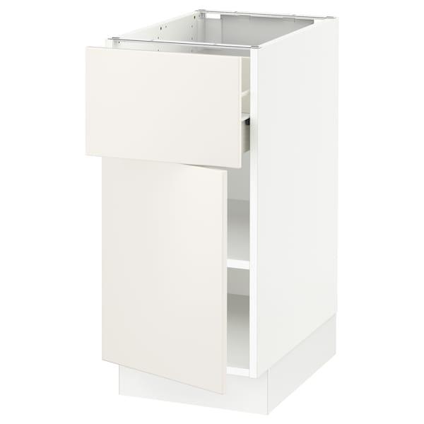 "SEKTION / FÖRVARA Base cabinet with drawer/door, white/Veddinge white, 15x24x30 """