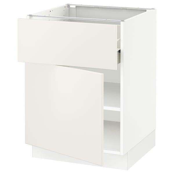 "SEKTION / FÖRVARA Base cabinet with drawer/door, white/Veddinge white, 24x24x30 """