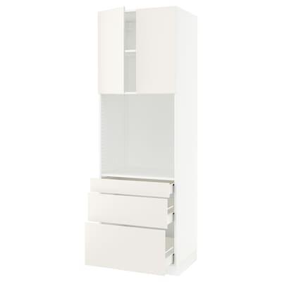 """SEKTION / FÖRVARA high cab f oven w 3 drawers/2 doors white/Veddinge white 30 """" 24 """" 24 3/4 """" 90 """""""