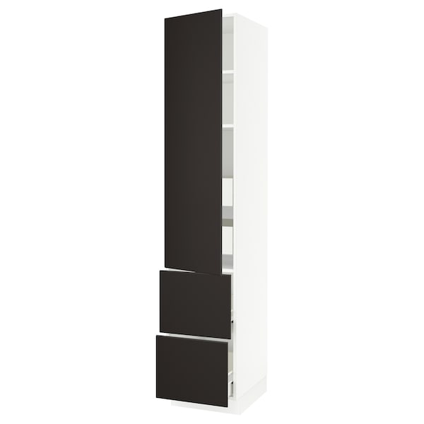 """SEKTION / FÖRVARA High cab w door/2 fronts/4 drawers, white/Kungsbacka anthracite, 18x24x90 """""""