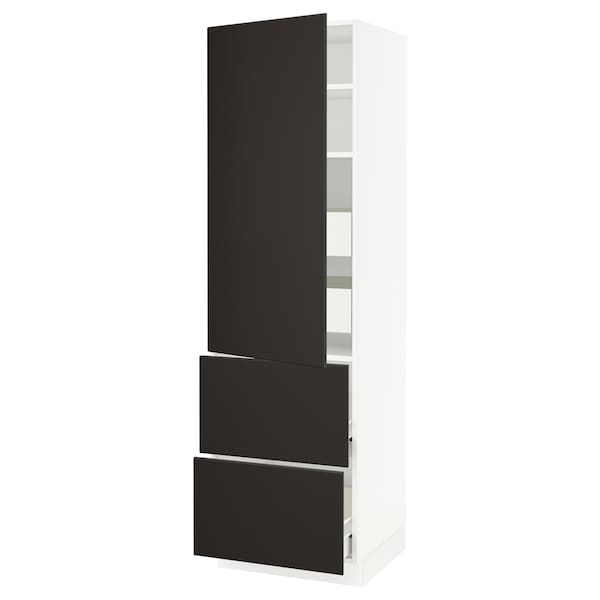 SEKTION / FÖRVARA High cab w door/2 fronts/4 drawers, white/Kungsbacka anthracite, 24x24x80 ""