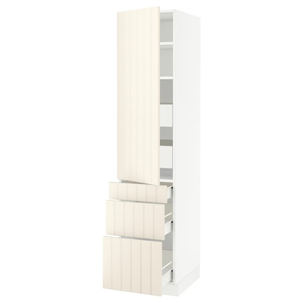 SEKTION / FÖRVARA High cab w door/3 fronts/5 drawers, white/Hittarp off-white, 18x24x80 ""