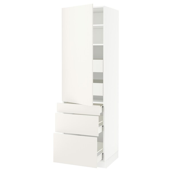 "SEKTION / FÖRVARA high cab w door/3 fronts/5 drawers white/Veddinge white 24 "" 24 "" 24 3/4 "" 80 """
