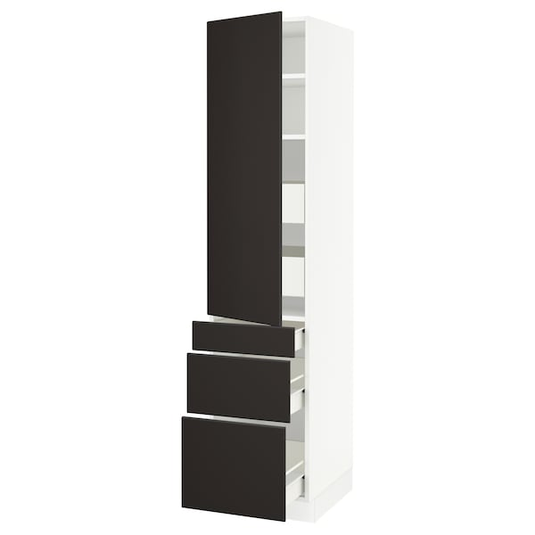 "SEKTION / FÖRVARA high cab w door/3 fronts/5 drawers white/Kungsbacka anthracite 18 "" 24 "" 24 3/4 "" 80 """