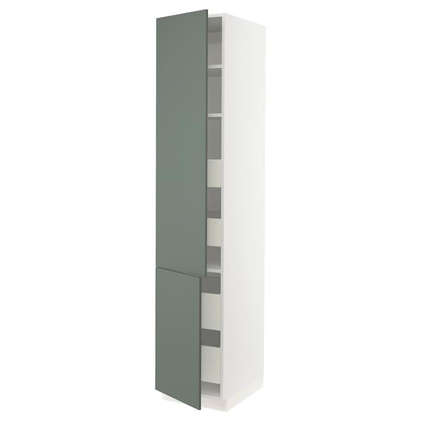 "SEKTION / FÖRVARA High cb w 2 doors/shelves/4 drawers, white/Bodarp gray-green, 18x24x90 """