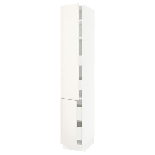 """SEKTION / FÖRVARA High cb w 2 doors/shelves/4 drawers, white/Veddinge white, 15x24x90 """""""